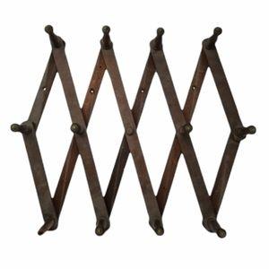 "Wood Expand Rack Accordion Wall Hanger 12 Peg 19"""